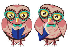 Curious Owl In Teal Glasses