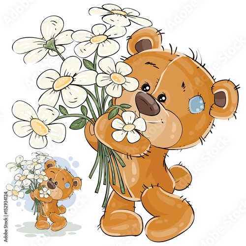 wektorowa-ilustracja-brown-mis-trzyma-bukiet-kwiaty-w-jego-lapach-drukuj-szablon-element-projektu-dla-kart-okolicznosciowych