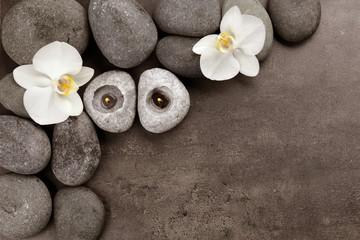 Fototapeta na wymiar Beautiful spa composition on grey background