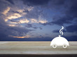 Restaurant cloche flat icon on wooden table over sunset sky with clouds, Food delivery concept