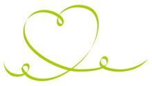 Single Green Heart Ribbon Calligraphy