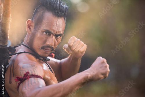 Portrait Ancient Warrior Man Thailand People For Background Martial