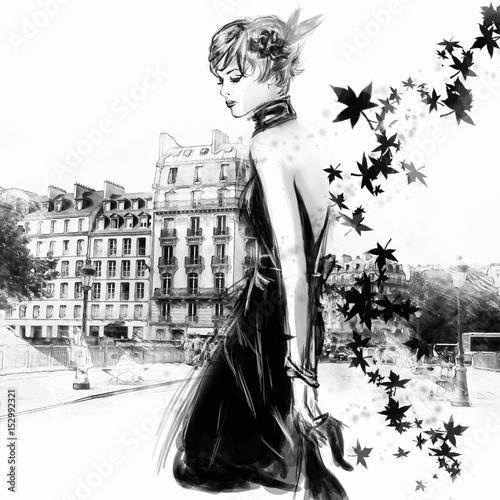 Obraz w ramie Fashion girl in sketch-style.