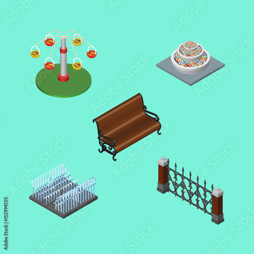 In de dag Groene koraal Isometric Architecture Set Of Fountain, Swing Attraction, Fence And Other Vector Objects. Also Includes Plants, Swing, Rotation Elements.