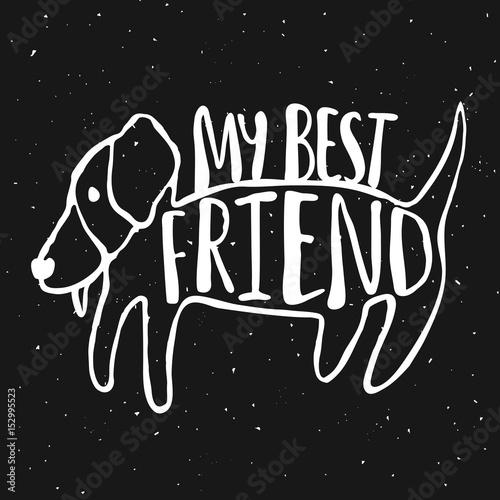 Obraz na plátně  Trendy hand drawn style hipster vector illustration, typography poster with dog