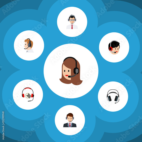 Photo  Flat Telemarketing Set Of Operator, Headphone, Telemarketing And Other Vector Objects