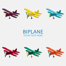 Vector Illustration Of Biplane...