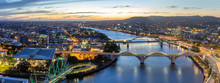 Brisbane City, Australia, Beautiful Panorama Aerial View Of Kurilpa Bridge, William Jolly Bridge And Merivale Bridge Over Brisbane River With GOMA And Brisbane Cityscape At Sunset Summer, Queensland