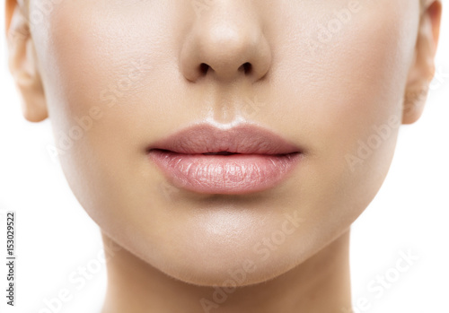 Photo Lips, Woman Face Mouth Beauty, Beautiful Skin and Full Lip Closeup, Pink Lipstic