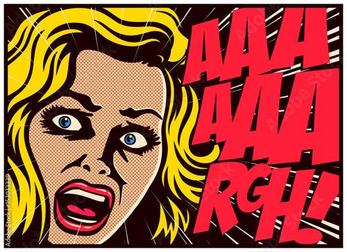 Plakat Pop-artu komiksu panel z przerażoną kobietą w panice krzyczy w ilustracji wektorowych projekt plakatu terroru