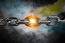 Composite Image Of 3d Image Of Broken Silver Metal Chain