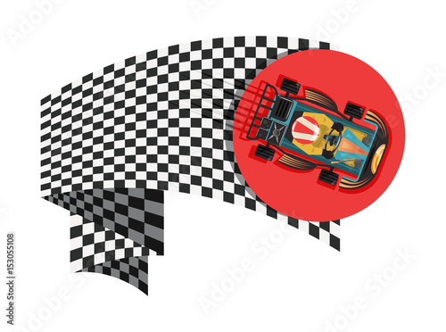 Karting sport symbol with checkered flag isolated vector