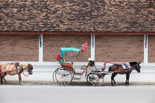 Tradition Horse Carriage Is A Symbol Of Lampang Province.