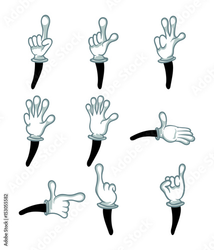 Hand in white glove gestures isolated vector illustration