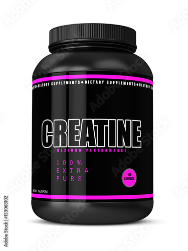 3d render of creatine bottle  over white Fototapeta