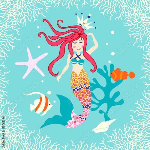 Fotobehang Zeemeermin Cute reef card with mermaid, fish, seashell, starfish and leaves.