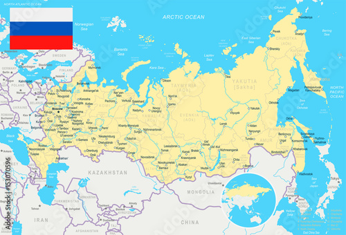 Fotografie, Tablou  Russia - map and flag – illustration