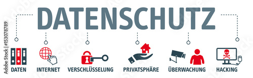 Cuadros en Lienzo  Banner Datenschutz - vektor Illustrationen