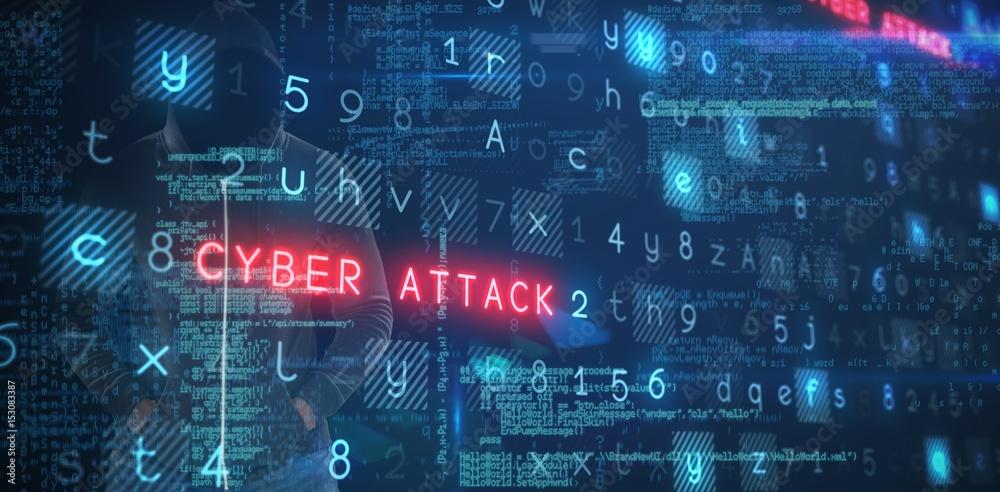 Fototapeta Composite image of spy in black hoodie