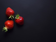 Fresh, Red, Ripe Strawberries Isolated On Black Background