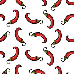 Panel Szklany Podświetlane Warzywa Chili peppers seamless pattern. Spice white background.
