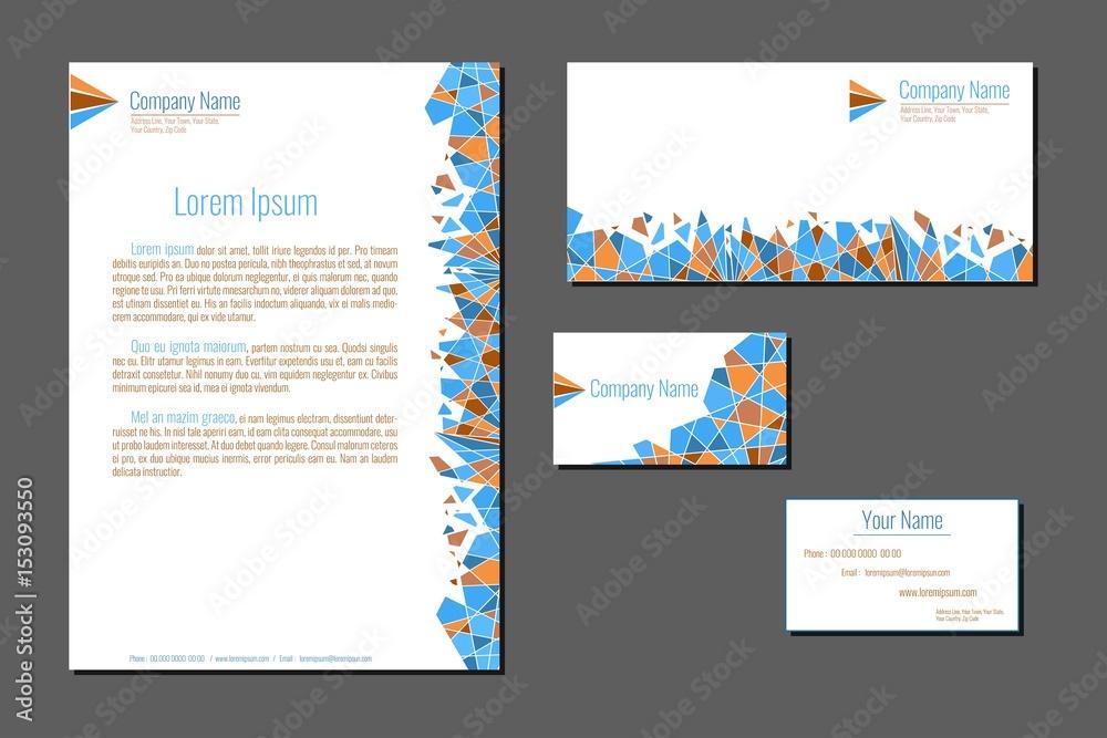 Obraz Professional corporate identity kit. Business Cards, Envelope and Letter Head Designs. Vector template. fototapeta, plakat