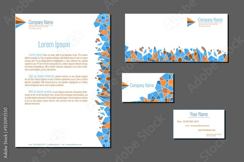 Fototapeta Professional corporate identity kit. Business Cards, Envelope and Letter Head Designs. Vector template. obraz