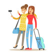 Two smiling tourists girl with suitcases standing and taking selfie photo on smart phone. People traveling colorful cartoon character vector Illustration