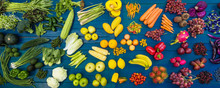 Flat Lay Fresh  Fruits And Vegetables For Background, Different Fruits And Vegetables For Eating Healthy, Colorful Fruits And Vegetables On Blue Plank Background