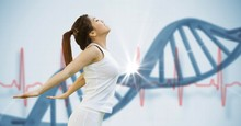 Fit Young Woman Stretching Against DNA Structure