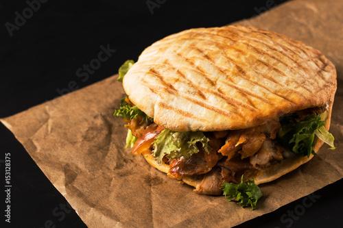 Doner Kebab on black background