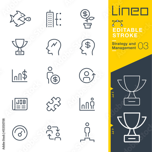 Photo Lineo Editable Stroke - Strategy and Management outline icons Vector Icons - Ad
