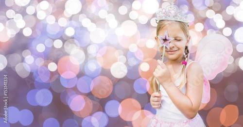 Fotografie, Obraz  Girl in fairy costume over bokeh