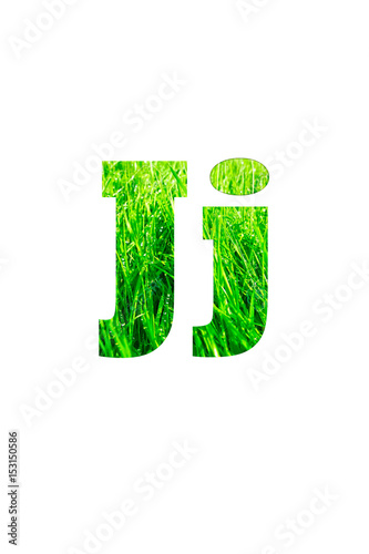 Poster Printemps Letter J made of green grass isolated on white