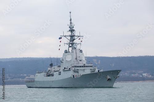 Plakat statek wojskowy