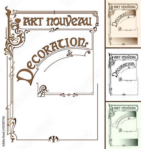 Frame in the style of art nouveau with the inscription. Wall mural