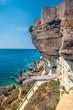 White rock cliff with sea bay near Bonifacio town, Corsica, France, Europe.