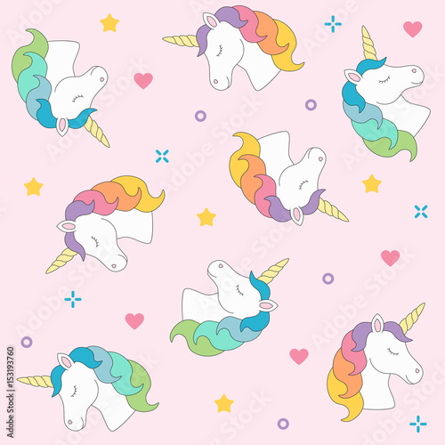 Unicorn head seamless pattern colorful on pink background Wallpaper Mural
