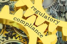 Regulatory Compliance Concept On The Gearwheels, 3D Rendering