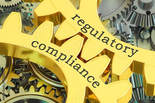Fotografía  regulatory compliance concept on the gearwheels, 3D rendering