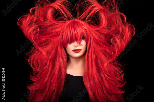 Beautiful and healthy long red hair. Flying hair Wallpaper Mural