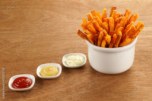 Sweet Potato Fries with Three Dipping Sauces Canvas Print