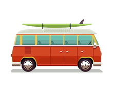 Retro Travel Red Van Icon. Surfer Van. Vintage Travel Car. Old Classic Camper Minivan. Retro Hippie Bus. Vector Illustration In Flat Design Isolated On White Background.