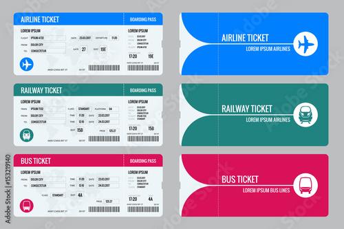 Fotografía  Set of tickets airplane, bus and train