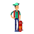 Cool vector hipster man character riding longboard