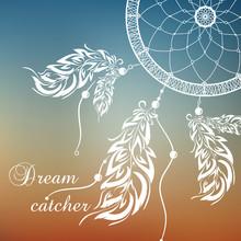 Vector Dream Catcher. Sunset Background.