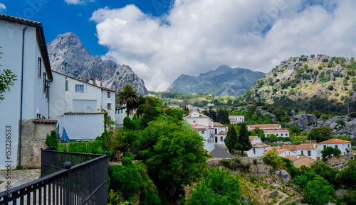 Foto op Canvas Guilin Grazalema Landscape in Spain. White village in Cadiz, Andalusia. Sunshine tourism in summer.