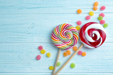 Candies And Lollipops On Woode...