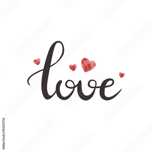 Valokuva  Vector isolated handwritten lettering Love and cute hearts on white background