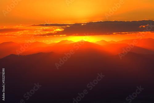 Poster Crimson Mountain Sunset